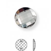 Schachbrett Aufnähstein flach 2 Loch 16mm Crystal UF Transparent
