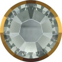 Xilion Rose Rimmed Hotfix Strass ss10 Black Diamond & Dorado Z A HF
