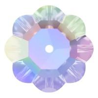 Flower Aufnähstrass flach 1 Loch 6mm Crystal AB