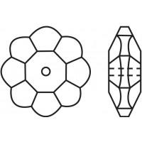 Flower Aufnähstrass flach 1 Loch 8mm Black Diamond