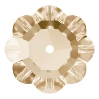 Flower Aufnähstrass flach 1 Loch 10mm Crystal Golden Shadow