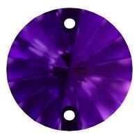 Rivoli Aufnähstein flach 2 Loch 12mm Purple Velvet F