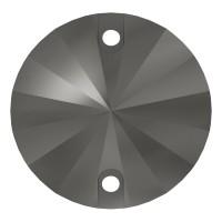 Rivoli Aufnähstein flach 2 Loch 10mm Jet Hematite