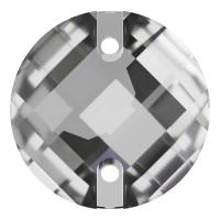 Schachbrett Aufnähstein flach 2 Loch 18mm Crystal F