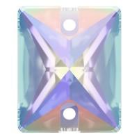 Baguette Aufnähstein flach 2 Loch 18x13mm Crystal AB F