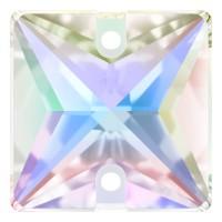 Square Aufnähstein flach 2 Loch 22mm Crystal AB F