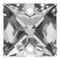 Square Aufnähstein flach 2 Loch 14mm Crystal F