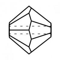 Bicone Glasschliffperle 4mm Jet Hematite