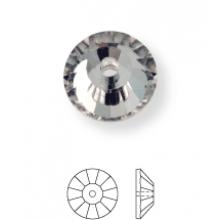 Rose Aufnähstrass flach 1 Loch 8mm Crystal UF Transparent