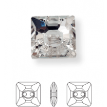 Square Strassknopf 2 Loch 16mm Crystal UF Transparent