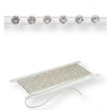 Elastische Plastik Strass Borte ss13 (4,1mm) 1 row, Crystal F (C00030), Transparent plastic base, White elastic threads