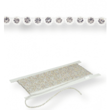 Plastik Strass Borte ss10 (3,5mm) 1 row, Crystal F (C00030), Transparent plastic base, White threads