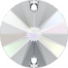 Rivoli Aufnähstein 2 Loch 14mm Crystal AB F