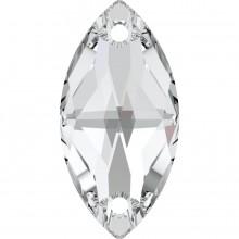 Navette Aufnähstein 2 Loch 18x9mm Crystal F