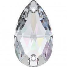 Drop Aufnähstein 2 Loch 28x17mm Crystal AB F