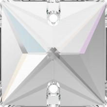 Square Aufnähstein 2 Loch 22mm Crystal AB F