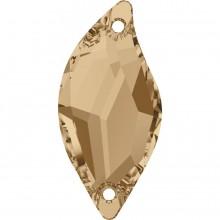 Diamond Leaf Aufnähstein 2 Loch 30x14mm Crystal Golden Shadow F
