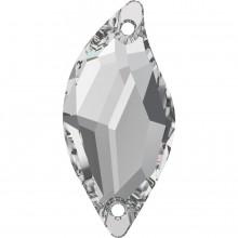Diamond Leaf Aufnähstein 2 Loch 30x14mm Crystal F