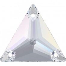 Triangle Aufnähstein 3 Loch 22mm Crystal AB F