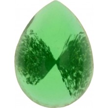 Glass Cabochon Tropfen 10x8mm green white marbled