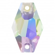 Hexagon Aufnähstein flach 2 Loch 18x11mm Crystal AB F