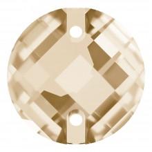 Schachbrett Aufnähstein flach 2 Loch 14mm Crystal Golden Shadow F