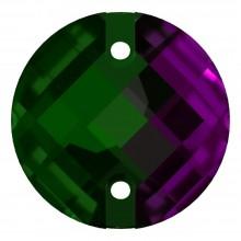 Schachbrett Aufnähstein flach 2 Loch 16mm Emerald F
