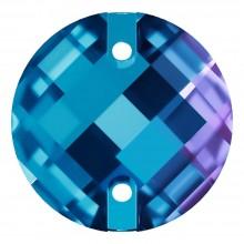 Schachbrett Aufnähstein flach 2 Loch 16mm Blue Zircon F