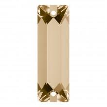 Cosmic Baguette Aufnähstein 2 Loch 26x9mm Crystal Golden Shadow F