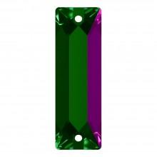 Cosmic Baguette Aufnähstein 2 Loch 18x6mm Emerald F