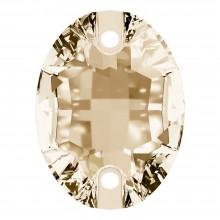 Oval Aufnähstein flach 2 Loch 18x13mm Crystal Golden Shadow F