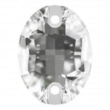 Oval Aufnähstein flach 2 Loch 16x11mm Crystal F