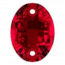Oval Aufnähstein flach 2 Loch 24x17mm Siam F