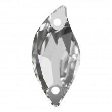 Leaf Aufnähstein flach 2 Loch 30x14mm Crystal F