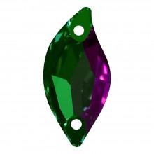 Leaf Aufnähstein flach 2 Loch 12x6mm Emerald F