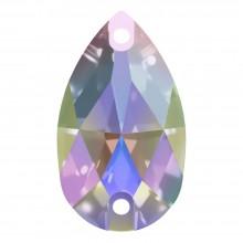 Pearshape Aufnähstein flach 2 Loch 25x16mm Crystal AB F