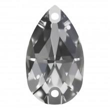 Pearshape Aufnähstein flach 2 Loch 12x7mm Crystal F