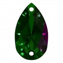 Pearshape Aufnähstein flach 2 Loch 28x17mm Emerald F