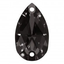 Pearshape Aufnähstein flach 2 Loch 28x17mm Black Diamond F