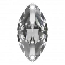 Navette Aufnähstein flach 2 Loch 18x9mm Crystal F