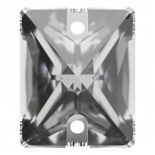 Baguette Aufnähstein flach 2 Loch 25x18mm Crystal F