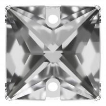 Square Aufnähstein flach 2 Loch 16mm Crystal F