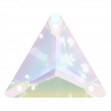 Triangle Aufnähstein flach 3 Loch 22mm Crystal AB F