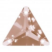 Triangle Aufnähstein flach 3 Loch 16mm Light Smoked Topaz F