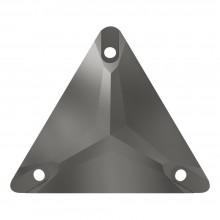 Triangle Aufnähstein flach 3 Loch 22mm Jet Hematite