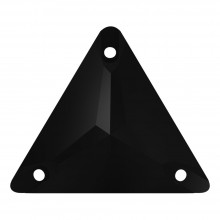 Triangle Aufnähstein flach 3 Loch 22mm Jet