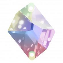 Cosmic Aufnähstein flach 2 Loch 27x21mm Crystal AB F
