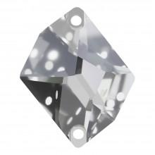 Cosmic Aufnähstein flach 2 Loch 17x13mm Crystal F