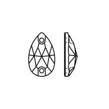 Pearshape 301 Aufnähstein 2 Loch 28x17mm Crystal F