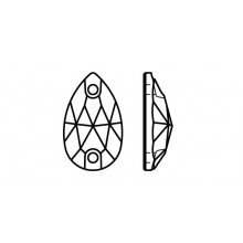 Pearshape 301 Aufnähstein 2 Loch 18x11mm Crystal AB F